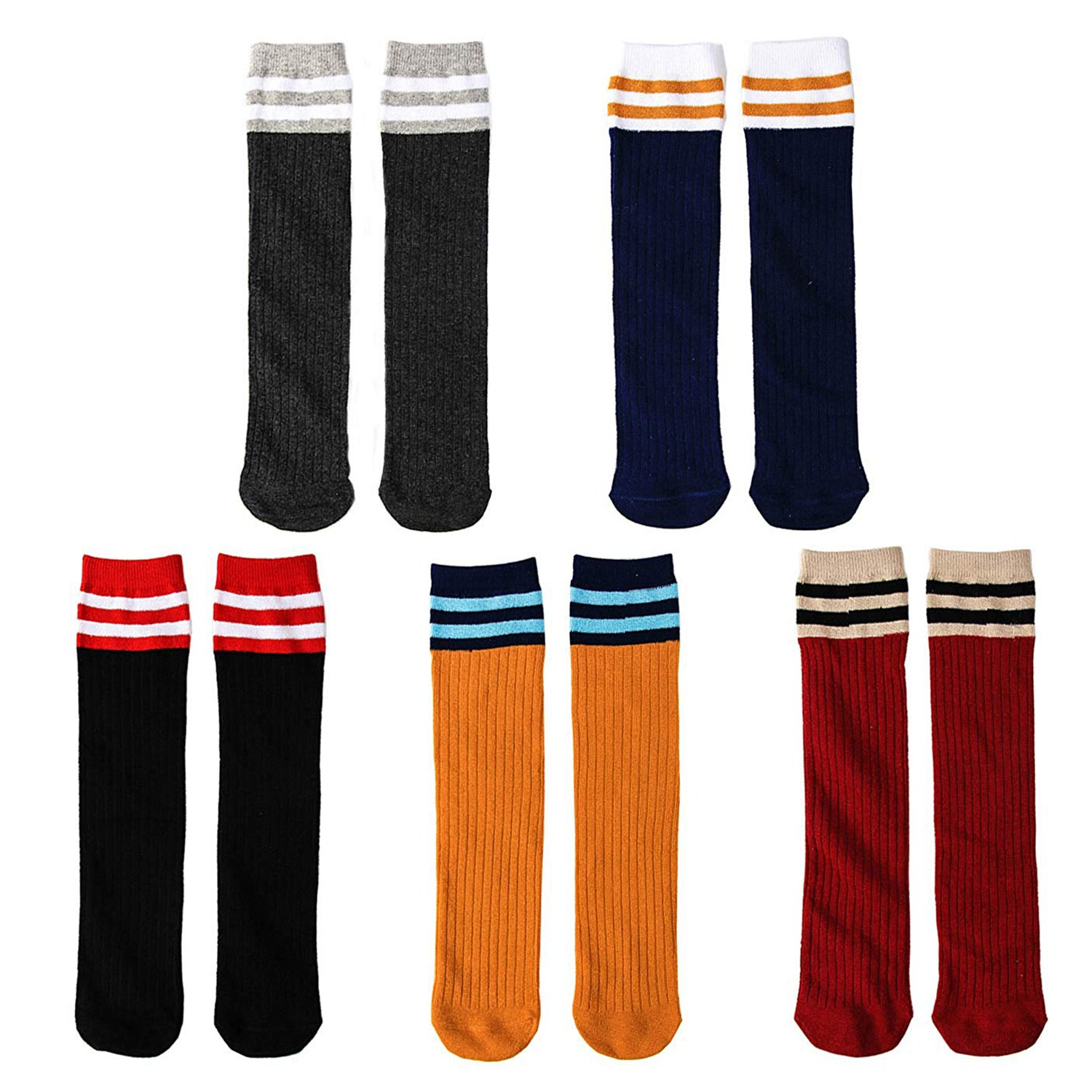 Kids Cotton Socks Knee High For 3-8 Year Olds, 5 PAIR