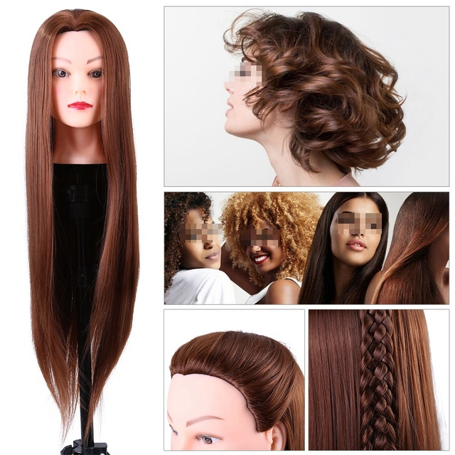 24Inch Synthetic Training Mannequin Head Hairdressing Dolls Head Cosmetology Braiding Dummy Mannequin Heads Table Clamp Stand