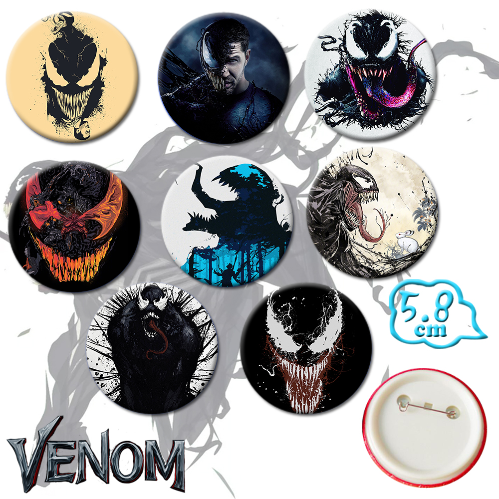 Giancomics Hot Venom Movie Pins Button PVC Cute Cartoon Badges Brooch Chestpin Costume Ornament Accessory Novelty Gift