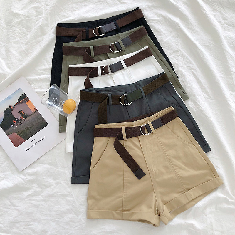 Mooirue Safari Formal Style   Shorts   Women Korean Spring Summer Solid High Waist With Sashes Trouser Black White Straight   Shorts
