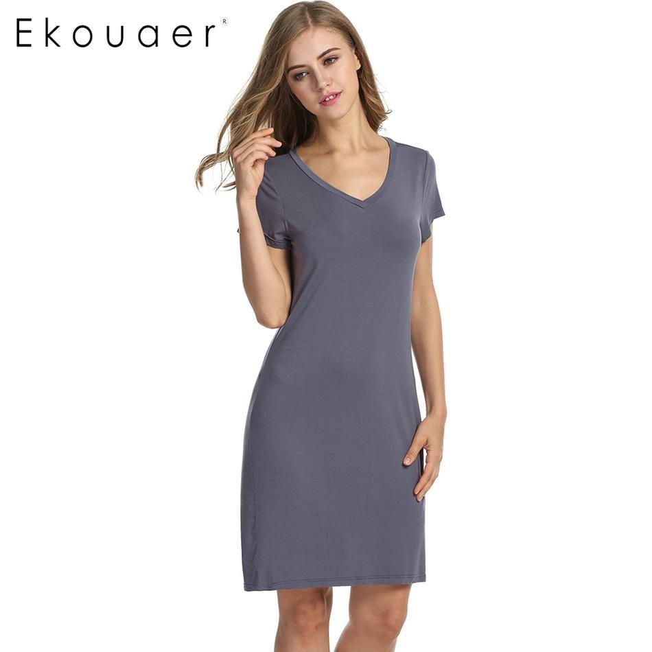Ekouaer Women   Sleepshirts     Nightgown   V-Neck Short Sleeve Loose Solid Sleepwear Night Dress Ladies Chemise Nightdress Home Wear