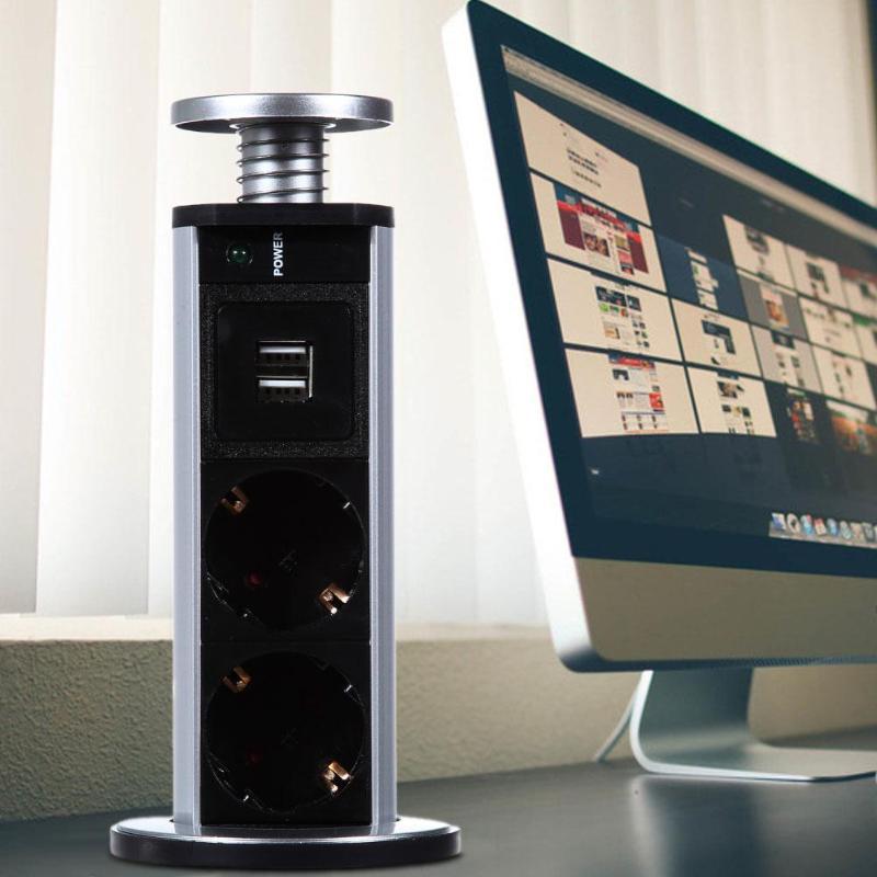 цена на New 220V 16A PULL POP UP Electrical 3 Plug Sockets 2 USB Outlet Power Socket Kitchen Desk Socket for Countertops Worktop EU Plug