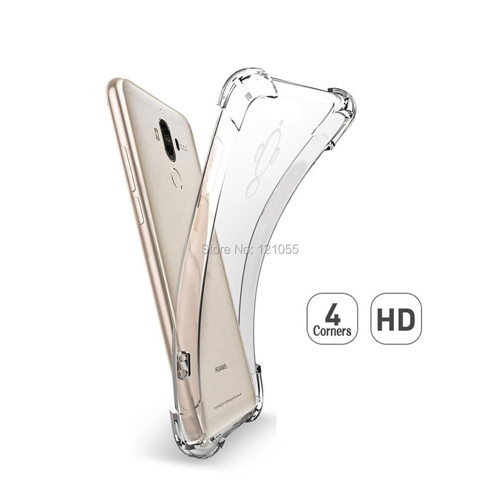 Silikon Fall Für Huawei Mate 20 Pro P20 lite Nova 3 Ehre 9 zurück abdeckung TPU stoßstange Ecke Transparent Klar fall groß 100 pcs/lot