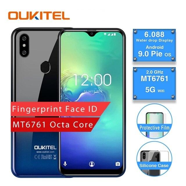 OUKITEL C15 Pro 2.4G/5G WiFi 4G LTE Smartphone Android 9.0 MT6761 empreinte digitale Face ID goutte d'eau écran 2 GB 16 GB téléphone portable
