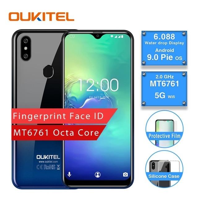 OUKITEL C15 Pro 2.4G/G Wi-fi 4 5G LTE Smartphone Android 9.0 MT6761 Fingerprint ID Rosto Água cair Tela 2GB 16GB Telefone Móvel