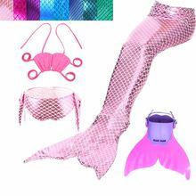 Купальный костюм с хвостом русалки для девочек аксессуары косплея