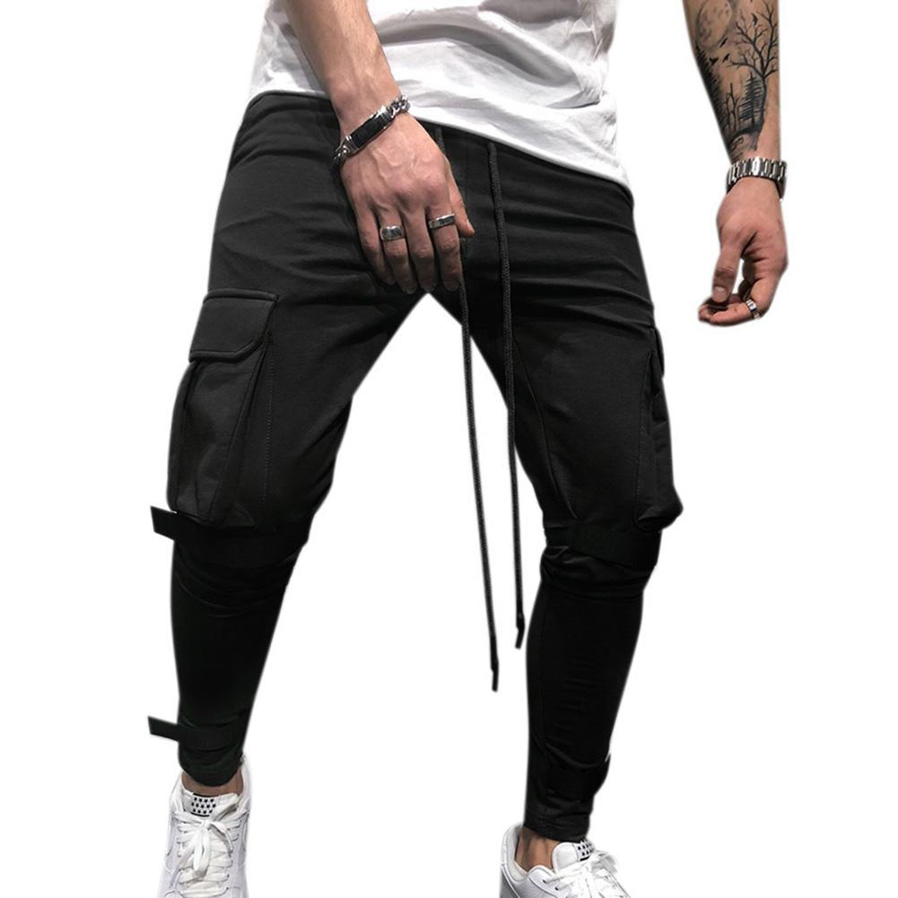 Men Side Pockets Soft Casual Pants With Magic Sticker Outdoor Trousers Gift Fitness Pants Elastic Cotton GYMS Workout Pants
