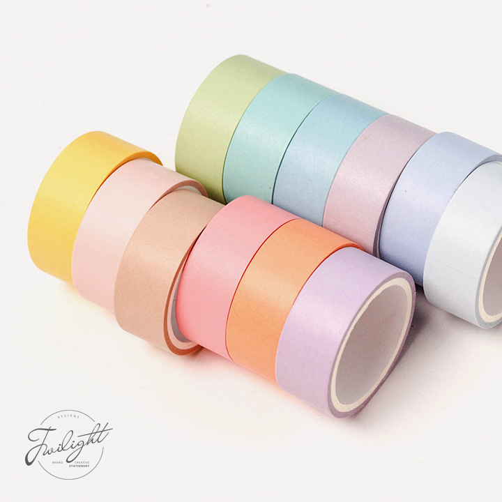 SIXONE 12 Suits Macaroon And Paper Adhesive Washi Tape Hand Account Diy Fresh Pure Color Decoration Series Hardcover 12 Color
