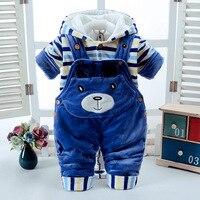 Infant baby clothes suit 2019 fashion winter baby stripes plus velvet padded coat + cartoon bib two piece boys clothing sets