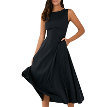 A-line Spring Tank Dress With Pocket Women Sleeveless Dresses Casual Round  Neck Loose Fitting 435954a8fe53