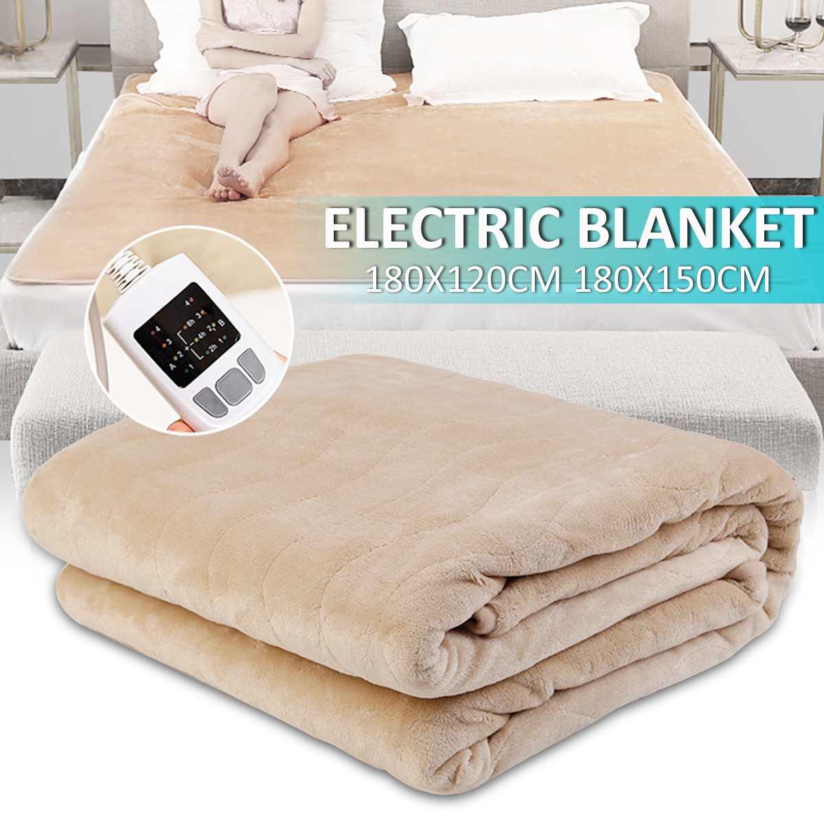 Flanelle couverture chauffante électrique Double Température Contrôleur de Synchronisation Ménage Électrique bloc chauffant Chauffe-Hiver Matelas Tapis