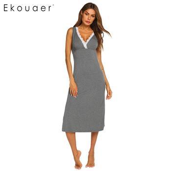 f72f4da237 Ekouaer mujeres verano camisón Homewear de cuello en V sin mangas de encaje pijamas  ropa de dormir femenina de Casa vestido