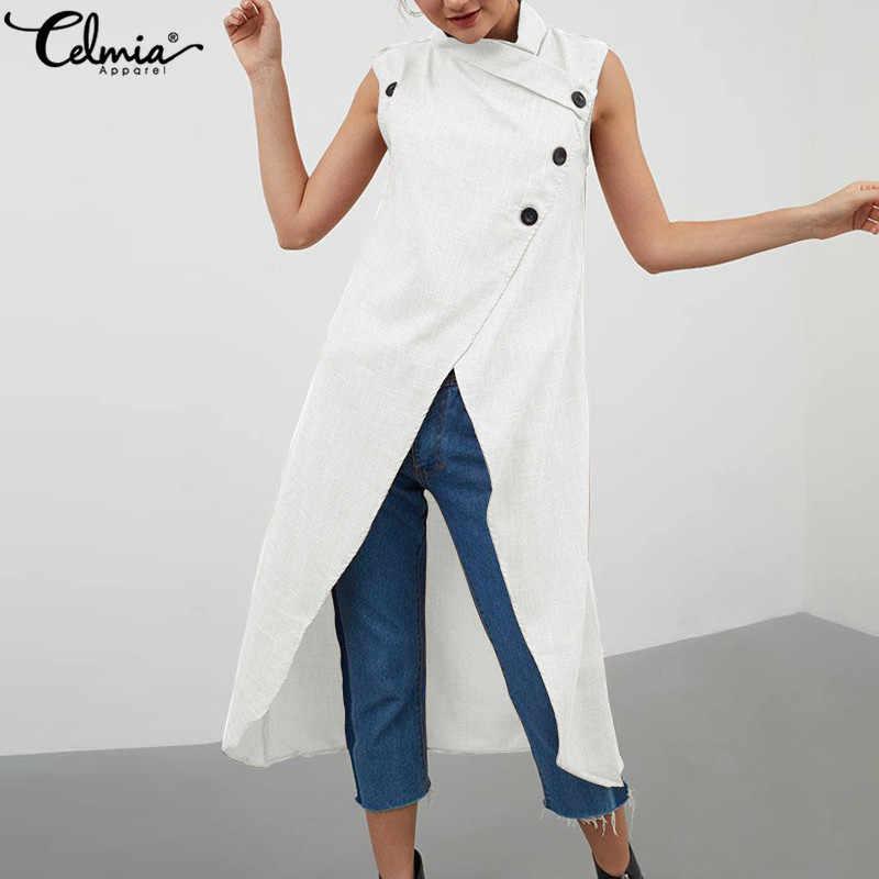 Cellumia, топы больших размеров, модная женская длинная блуза с разрезом, лето 2019, без рукавов, на пуговицах, Повседневная Длинная Асимметричная рубашка, свободные блузы