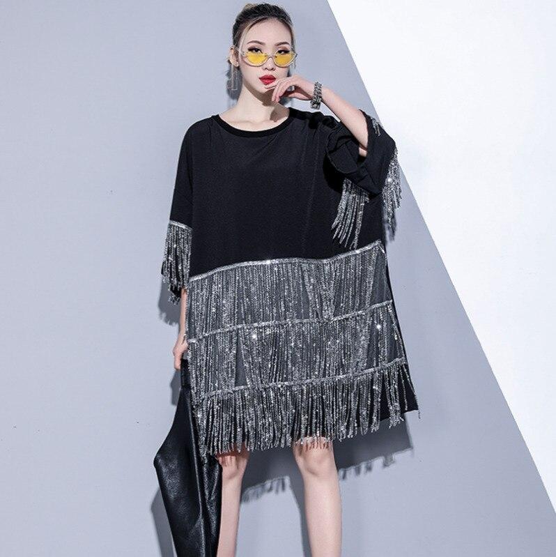 #0753 noir T Shirt robe Rock femmes avec paillettes gland mode grande taille robes dames été 2019 lâche haute rue Vestidos