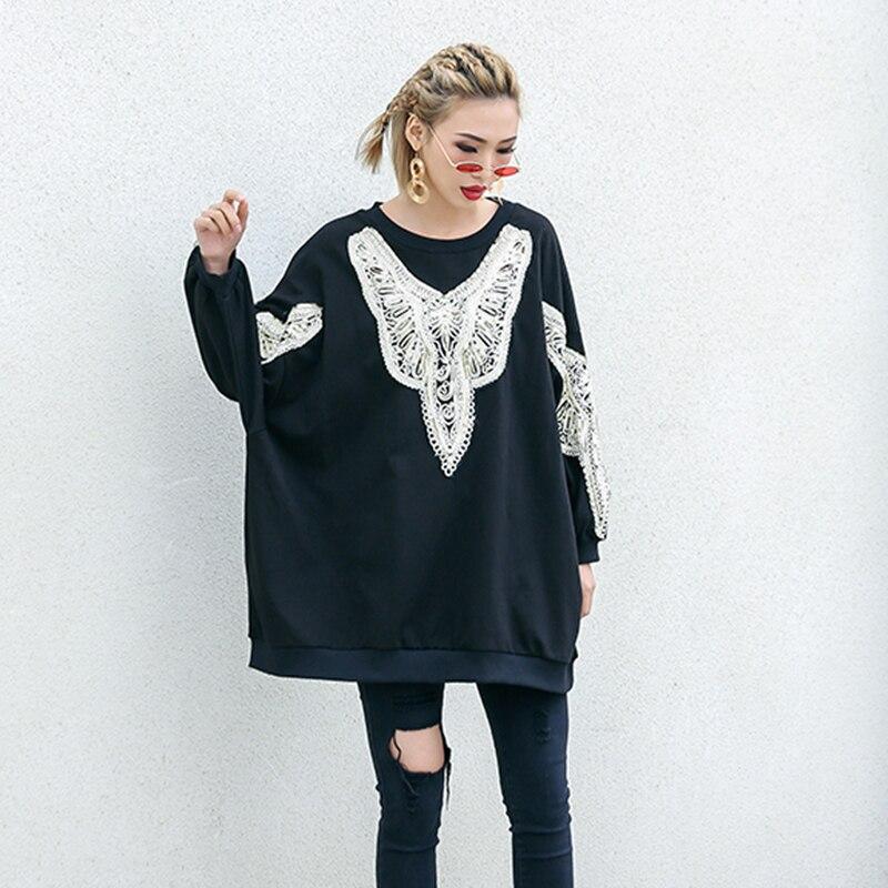Vêtements Cou Pulls Black souris Tops Shirts Noir Chicever Femmes O De Paillettes Les Broderie Sweatshirts Pour Femme Chauve Manches Lâche Nouveau Mode 0AnvBaqw