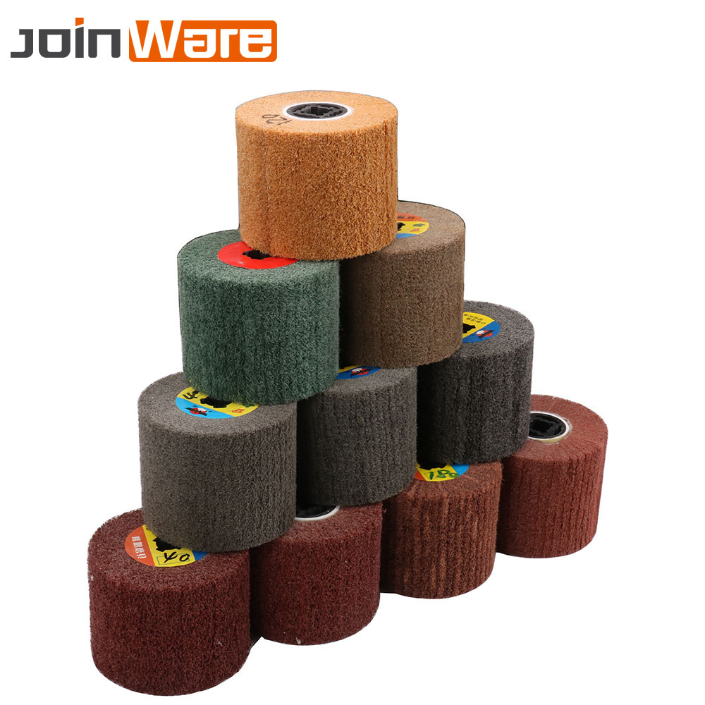 1Pc Non-woven Wire Drawing Polishing Wheel Nylon Sour Pad Abrasive Flap Brush 120x100mm 40/60/80/120/180/240/320/400/600 Grit