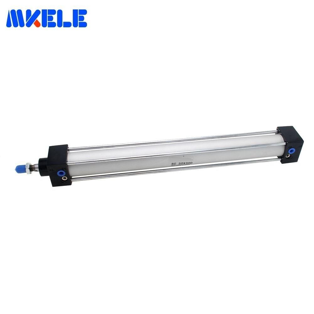 Купить с кэшбэком Standard Air Cylinders 32/40/63mm Bore 50/75/100/125/150/175/200/250/300mm Stroke Double Acting Pneumatic Cylinder SC Makerele