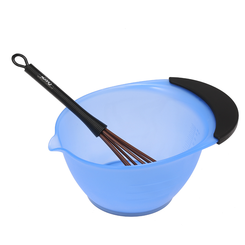 2-In-1 Hair Dye Coloring Bowl Whisk Dye Cream Mixer Stirrer Barber Hair Dyeing Kit DIY Tools Random Color