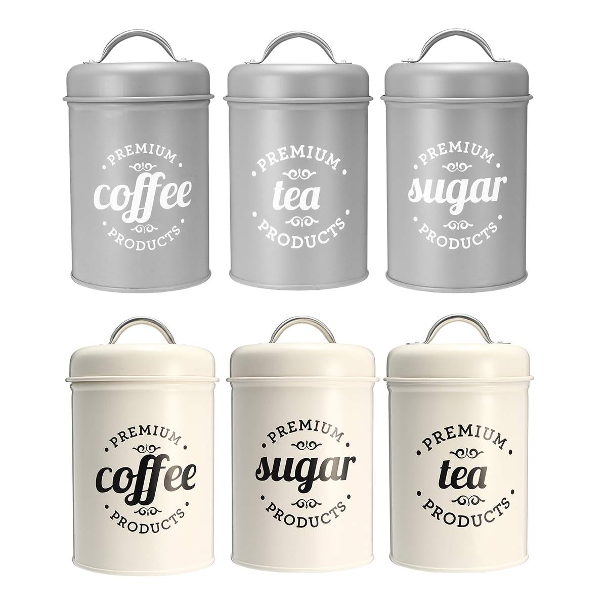 3Pcs/set Storage Box Tea Sugar Coffee Canister For Kitchen Food Containers Jars Bottles Candy Storage Bottles Jars Bowl Boxing