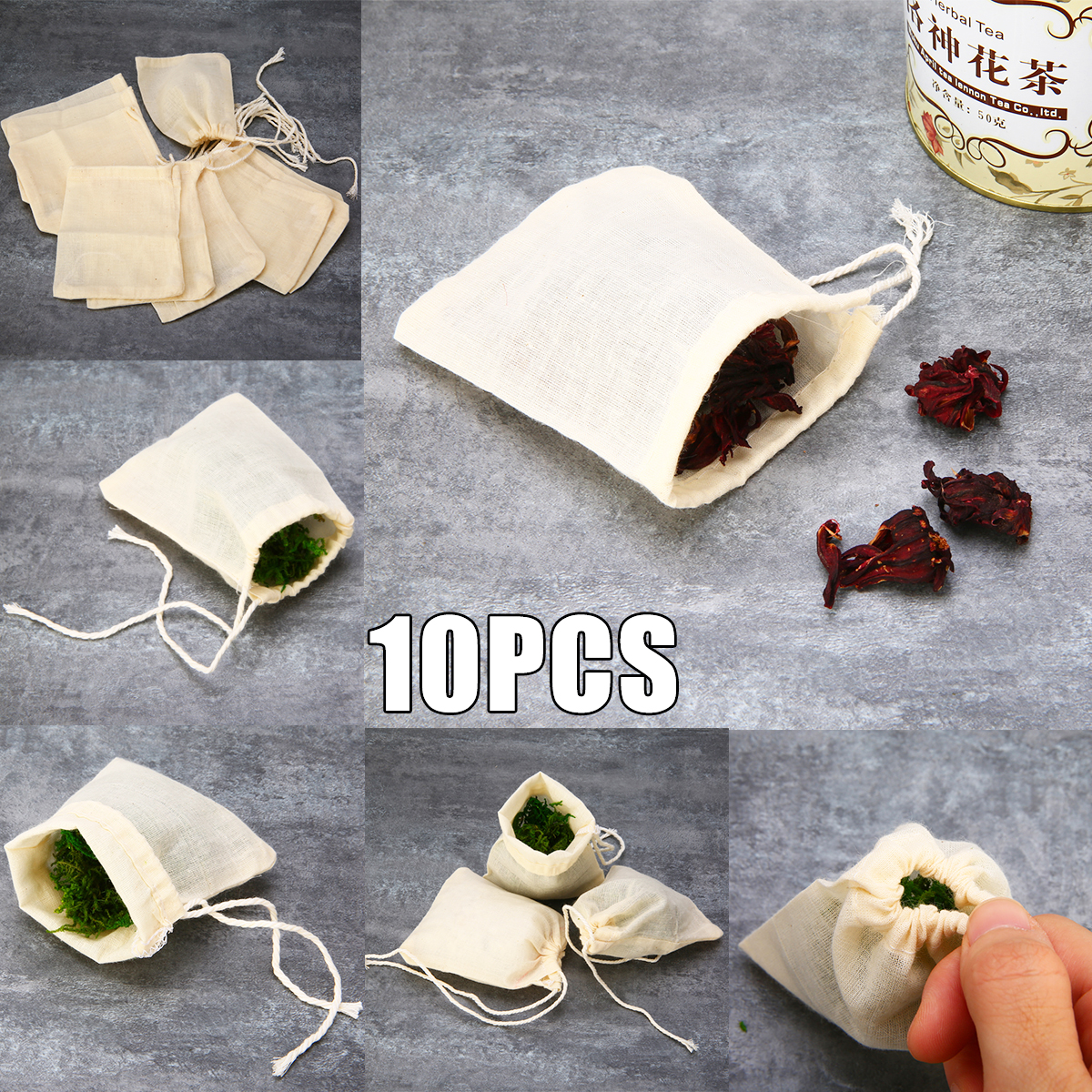 10pcs Tea Maker Cloth Filter Bag Cotton Muslin Drawstring Strainer Tea Spice Food Separate Filter Box For Drinkware