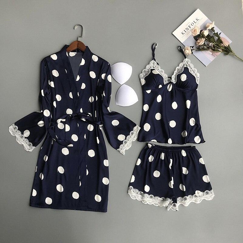 2019 Women Pajamas Sets 3 Pieces Satin Sleepwear Pijama Chest Pads Spaghetti Strap Lace Silk Sleep Lounge Nightwear Pyjama