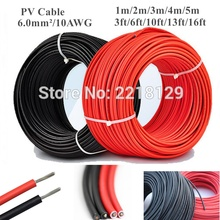 Solar Cable Black+Red panel PV 1m/2m/3m/4m/5m 6.0mm/10AWG solar module Connector Solar Power wire Cable for TUV