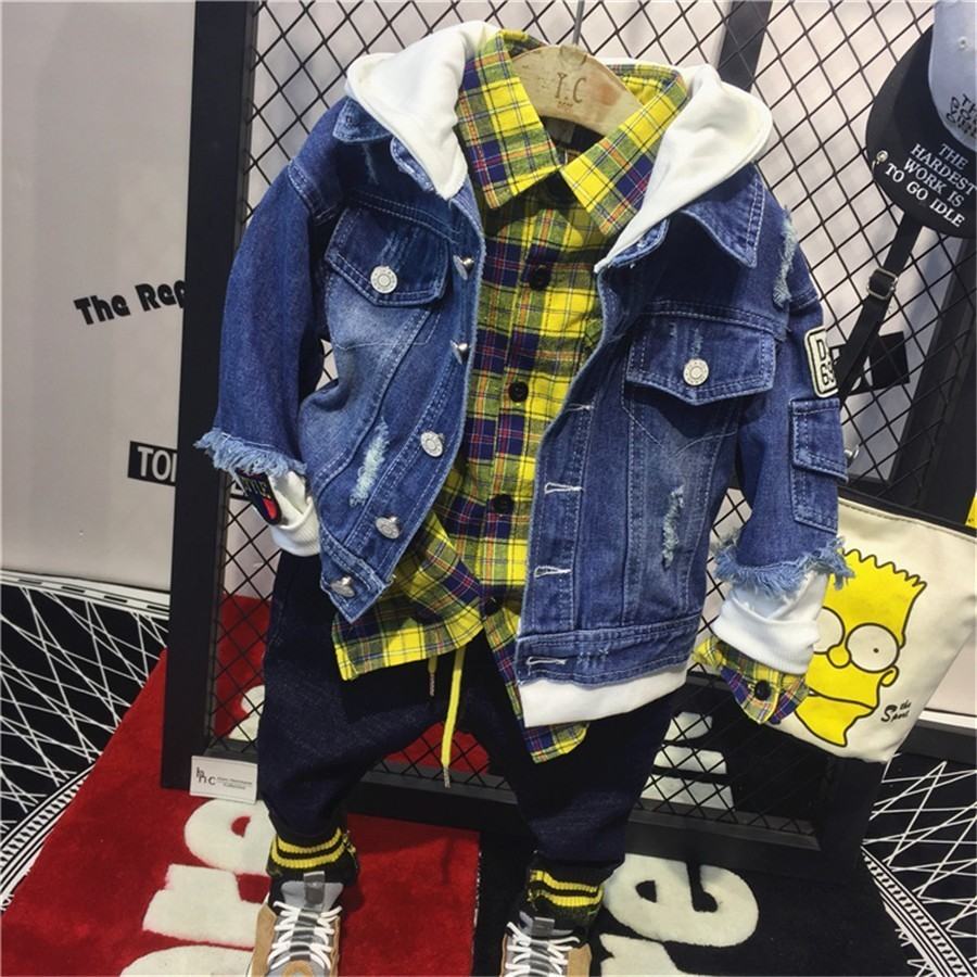 New!3PCS Baby Boys Long Sleeve Suit Coat Jeans Set Kids Outfits Hooded Shirt