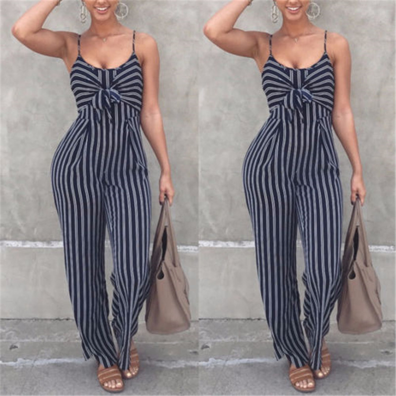 New Women Summer Bodysuit 2019 Hot Sale Clubwear Playsuit Strappy Jumpsuit Sexy V-neck Striped High Waist Jumpsuit Long Trousers
