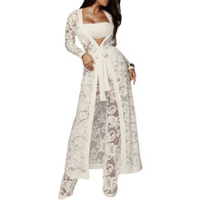 2019 Autumn Winter Outfits Lace 3 Piece Set Women Long Cardigan + Crop Top White Pants Three
