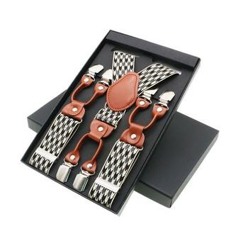 Męskie szelki Casual Fashion Unisex szelki eleganckie brązowe skórzane szelki szelki regulowane 6 klipsów pasek tata prezent tanie i dobre opinie AYHDMRG Dla dorosłych COTTON Drukuj sp16 Moda 120cm suspenders 120*3 5cm