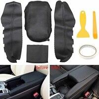 4pcs Black Top Leather Center Armrest Surface Case Cover for Honda Civi c 2016 2017 Car Armrest Leather Suit Installation Tool