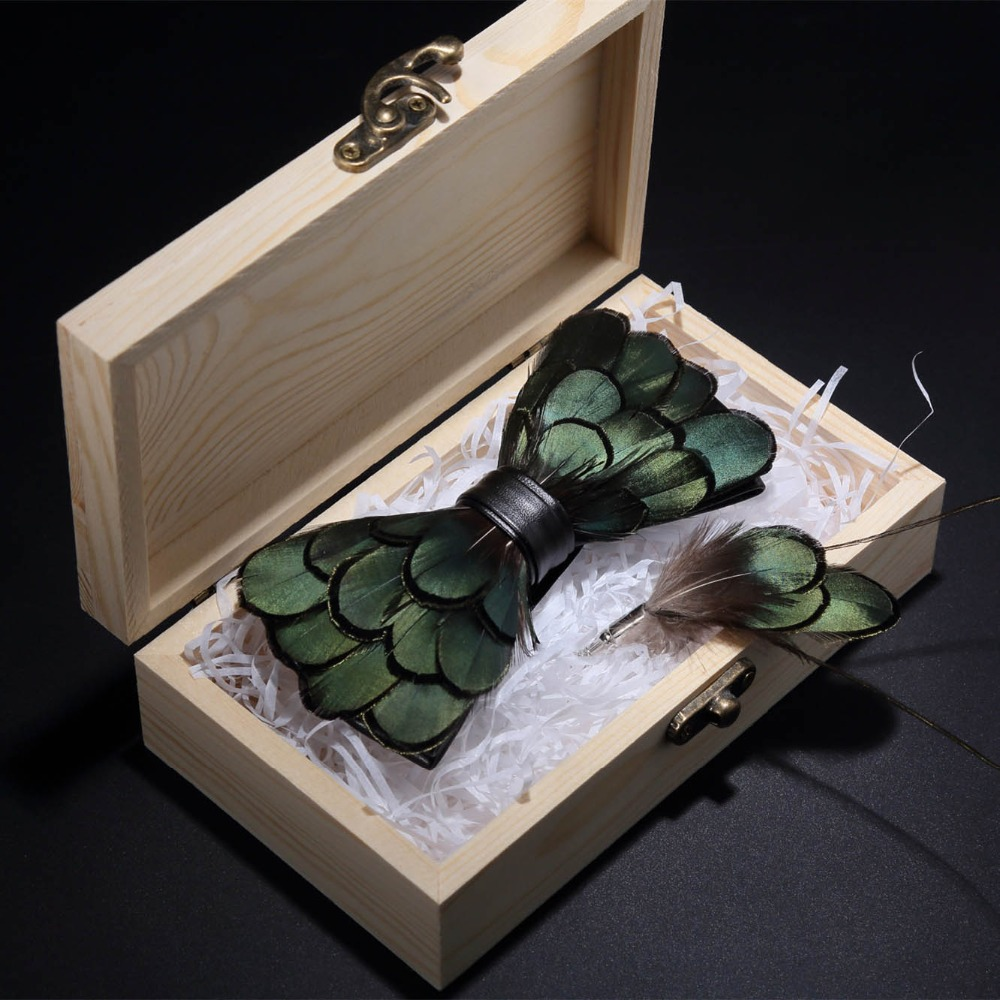 JEMYGINS Original Green Birds Feather Bow Tie Natural Hand Made Bowtie Brooch Wood Gift Box Set For Men Business Party Wedding