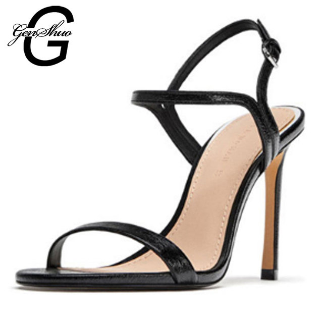 GENSHUO 2019 Fashion Sandals Ankle Strap Woman Sandals Stiletto High Heels Narrow Band Buckle Sandals Solid Classic Dress Pumps