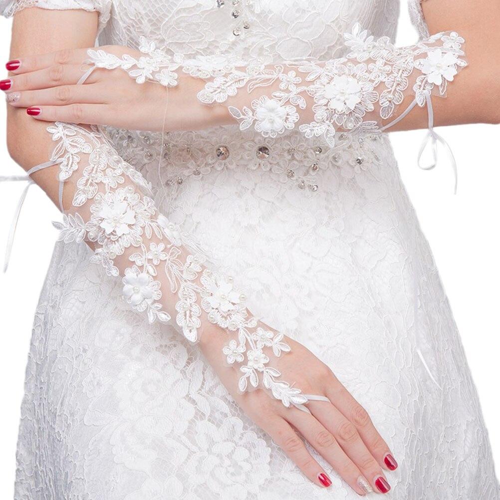 1 Para Braut Handschuhe Spitze Blume Mode Aushöhlen Tau Finger Bandage Handschuhe Hochzeit Dekorationen Kleid Zubehör