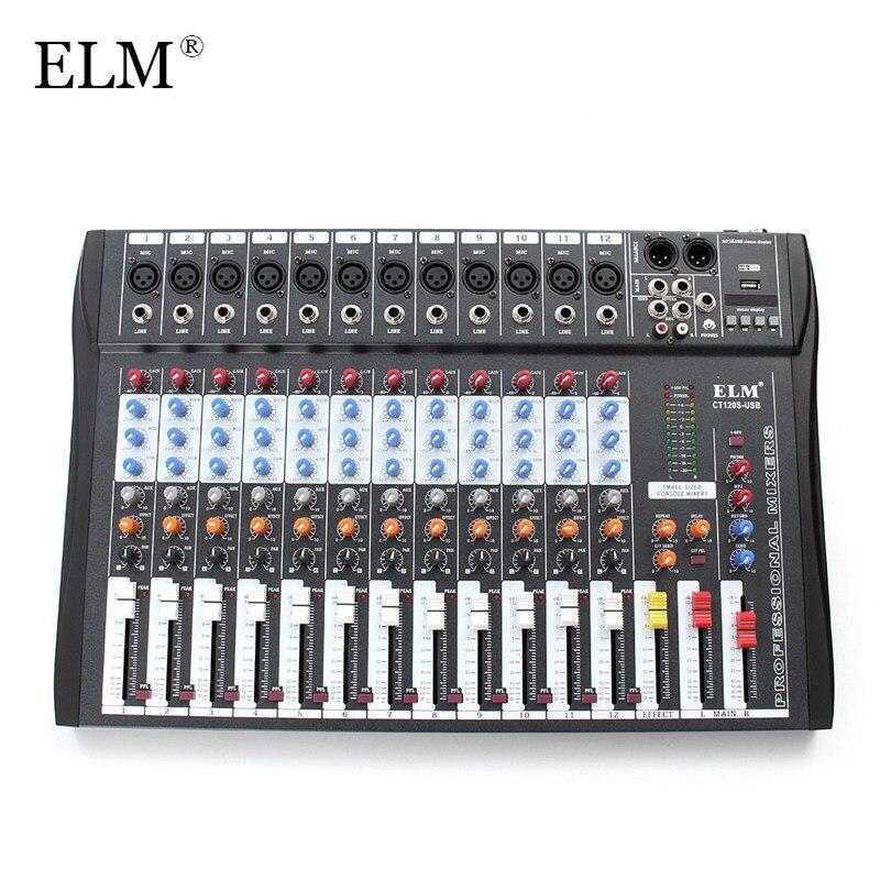 ELM 12 Canale Professionale Karaoke Mixer Audio Microfono Digitale Console Suono di Miscelazione Amplificatore Con USB 48 v Alimentazione Phantom