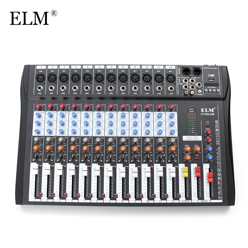 ELM 12 Canal Professionnel Karaoké Audio Mélangeur Microphone Numérique Console Mixage Amplificateur Avec USB 48 v Alimentation Fantôme