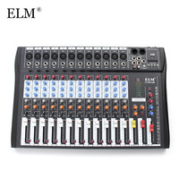 ELM 12 Channel Professional Karaoke Audio Mixer Microphone Digital Console Sound Mixing Amplifier With USB 48V Phantom Power