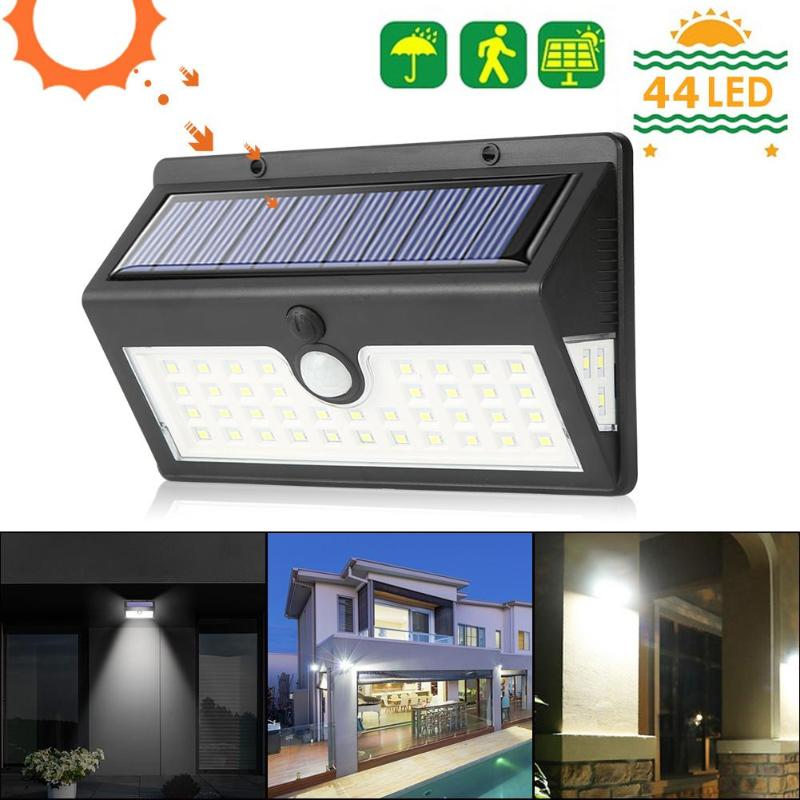 44LED Solar Light Motion Sensor Garden Outdoor Yard IP65 Security Wall Lamp refletor fq led