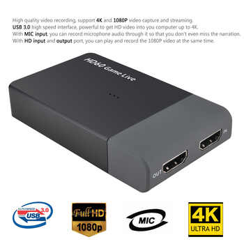 Ezcap 261M USB 3.0 HD Video Capture 4K 1080P Game Live Streaming Video Converter Support 4K Video Input MIC IN for XBOX One PS4