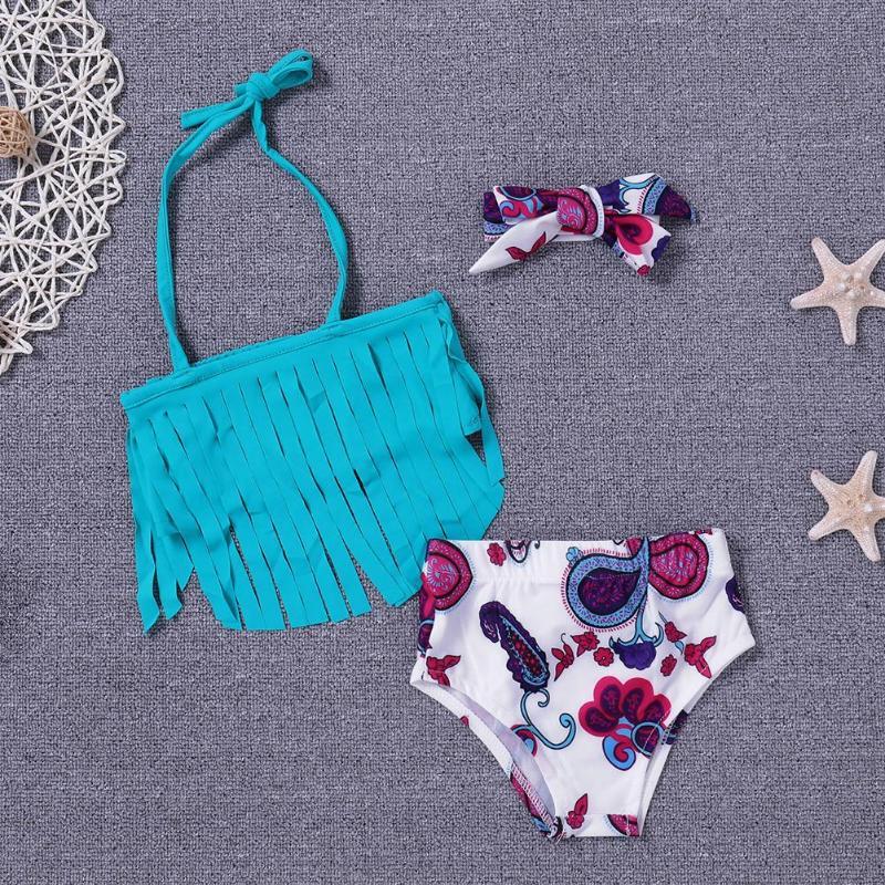 3pcs/set Tassel Floral Swimwear Headband Kids Girls Split Swimsuit Hairband