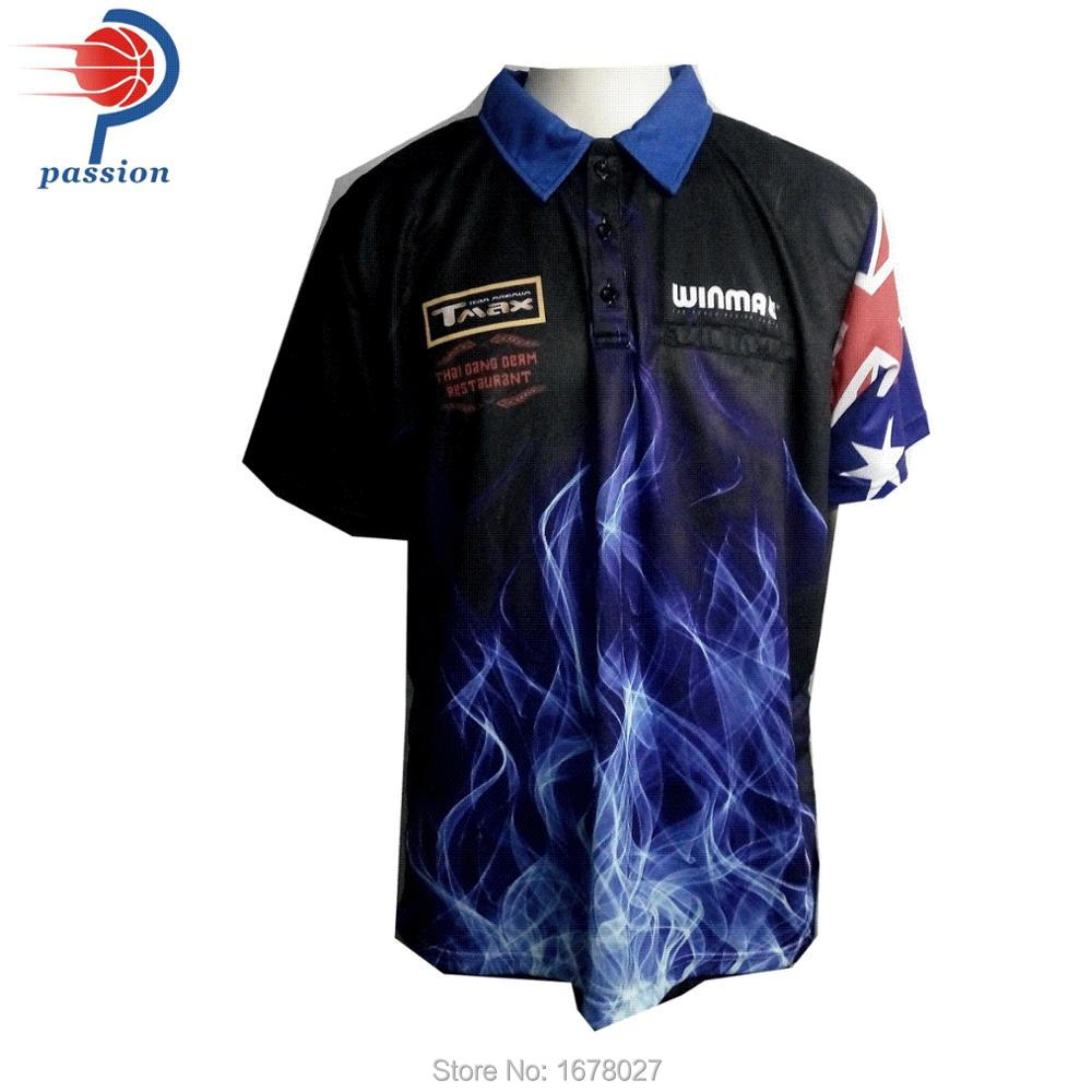 full sublimation printed custom darts polo shirt. US  125.00. 3 buttons-up Cool  Design Black Lightening Joker Dart Shirts f1d1abfb6