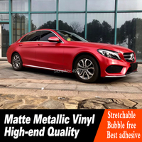 matte vinyl metallic red vinyl wrap low initial tack adhesive roll for High end car real picture Warranty 5 years