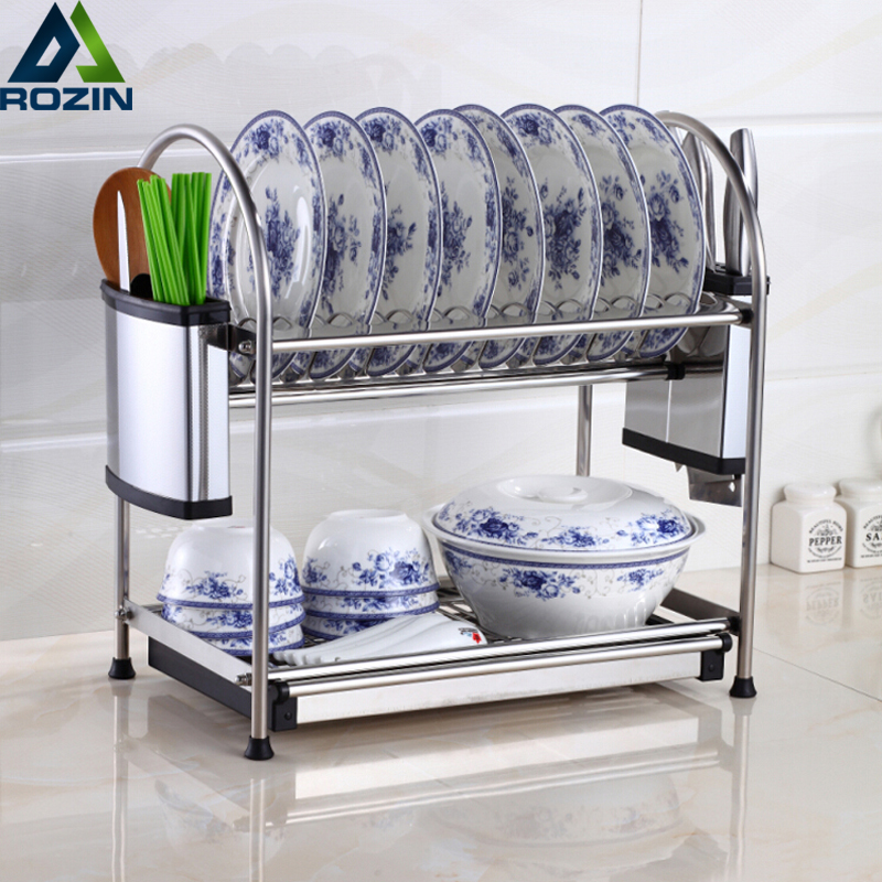 Permalink to Desktop Home Kitchen Organizer Rack Storage Holder Tableware drain rack Kitchen cabinet storage Stainless Steel Finish