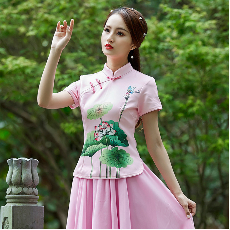 Sheng Coco Ladies China Shirts Lotus Printing 2019 Chinese Style Suit Pink Blouse Style Chinois Chinese Traditional Woman Tops image