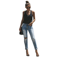 women Denim Hole Ripped Pencil Pants Stretch Jeans High Waist Women Light blue