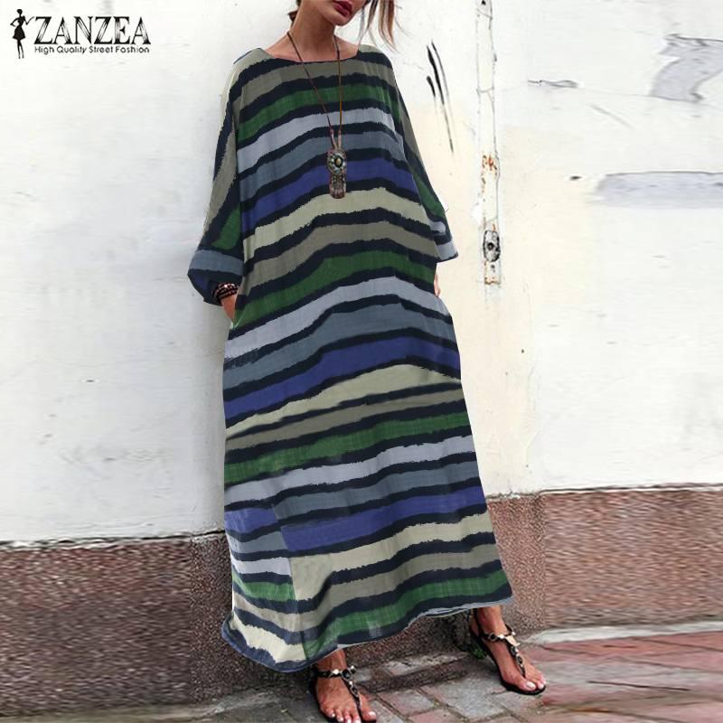 Women's Summer Sundress 2019 ZANZEA Bohemian Stripe Dress Female Vintage 3/4 Sleeve O Neck Loose Casual Maxi Long Vestidos 5XL