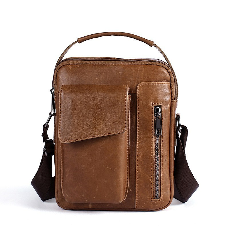 New Fashion Business Shoulder Bag Men Genuine Leather Crossbody Bag Men Satchel Bags For Men Vintage Messenger Bags Bolso Hombre