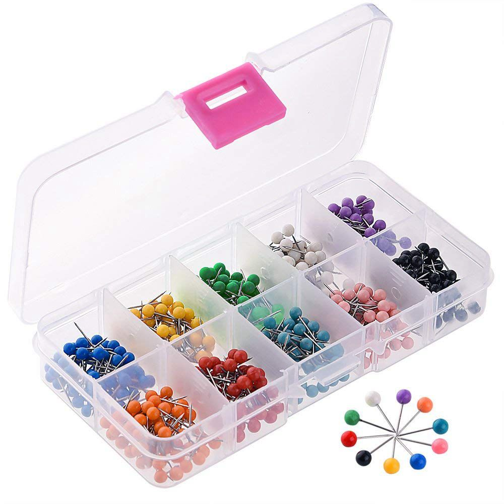1/8 Inch Map Push Pins, Map Tacks With 10 Assorted Colors, 500 Pieces