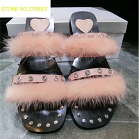 56714fbe8a Womens Fox Fur Slippers Striped Fluffy Real Fur Slides Female Rubber  Sandals With Fur Home Cute