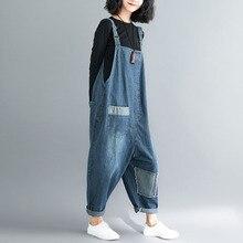 2019 Big Size Women Jeans Jumpsuits Loose Denim Long Romper Vintage Female Sleeveless Patchwork